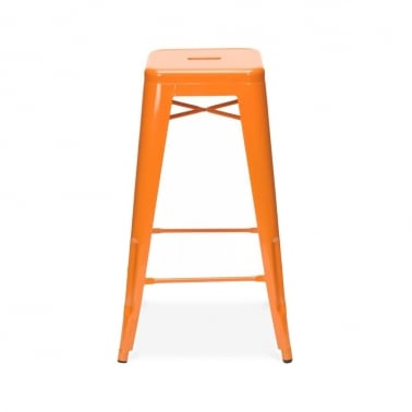 Tolix Style Metal Stool - Orange 75cm