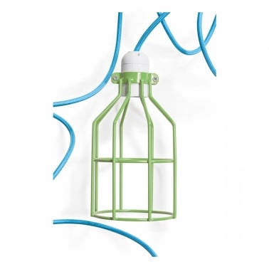 Green Milk Bottle Cage Lamp With Choice Of Colour Flex