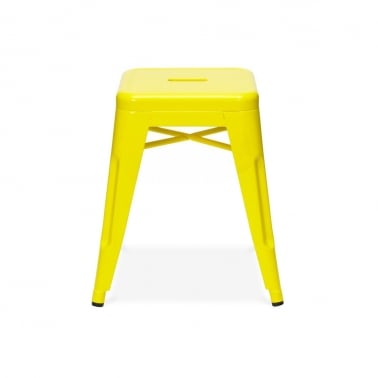 Tolix Style Metal Low Stool - Yellow 45cm