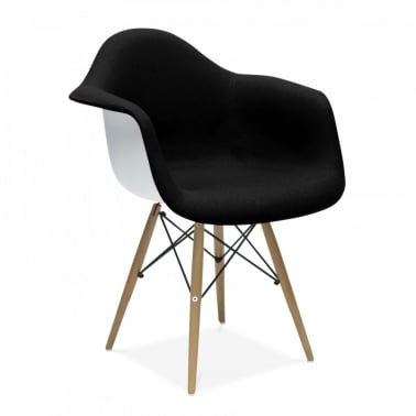 Eames Style Fabric Upholstered DAW Chair, Black