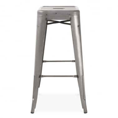 Tolix Style Metal Stool - Gunmetal with Weld Spots 75cm