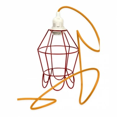 Edison Red Tulip Cage Lamp With Choice of Colour Flex
