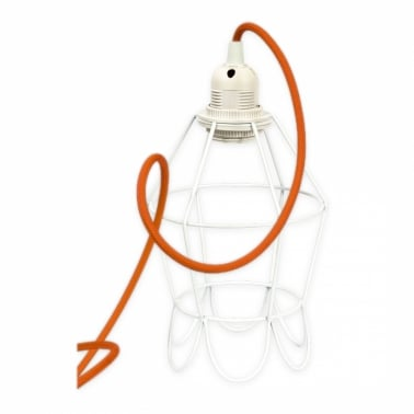 Edison White Tulip Cage Lamp With Choice of Colour Flex
