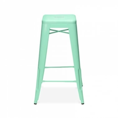 Tolix Style Metal Stool - Peppermint 65cm