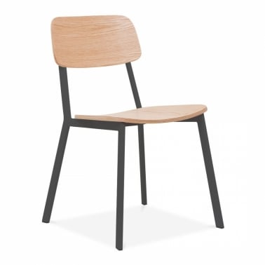 Hipster Chair with Oak Veneer Back and Seat - Black