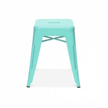 Tolix Style Metal Low Stool - Peppermint 45cm