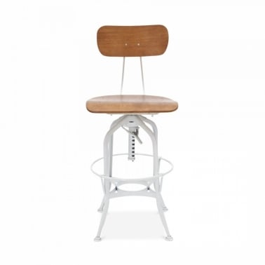 Toledo Style Pump Action Bar Stool with Backrest, White 64/74cm