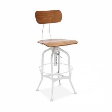 Toledo Style Pump Action Bar Stool - White 64/74cm