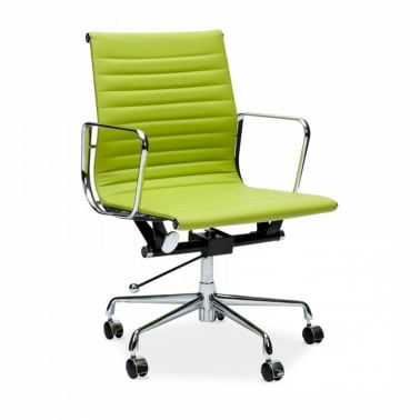 Apple Green Short Back Ribbed Office Chair