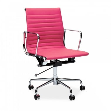 Pink Short Back Ribbed Office Chair