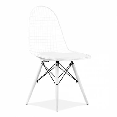 White DKR Wire Chair with Wood Legs