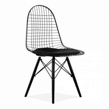 Black DKR Wire Chair With Wood Legs