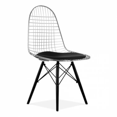 Chrome DKR Wire Chair with Wood Legs