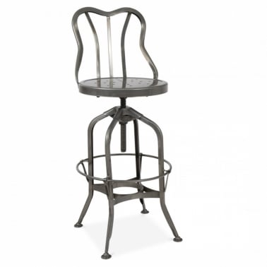Toledo Stool With Back Rest - Raw Gunmetal 64/74 cm