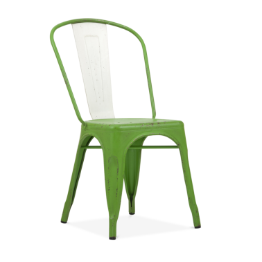 Hand Distressed Vintage Tolix Style Side Chair with White Back - Garden Green