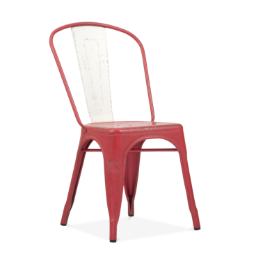 Hand Distressed Vintage Tolix Style Side Chair with White Back - Red