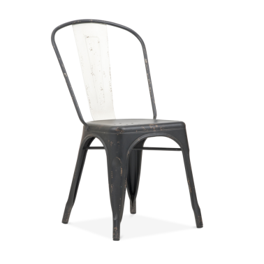 Hand Distressed Vintage Tolix Style Side Chair with White Back - Black
