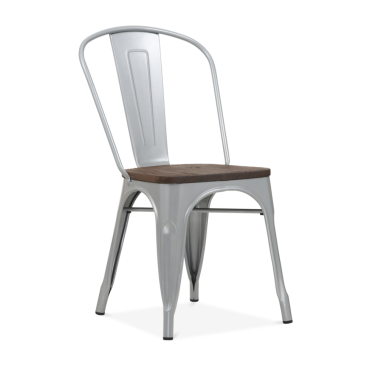 Tolix Style Metal Side Chair with Brown Wood Seat - Silver Powder Coated