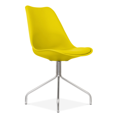 Yellow Dining Chairs With Metal Cross Legs