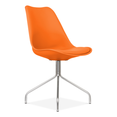 Orange Dining Chairs With Metal Cross Legs