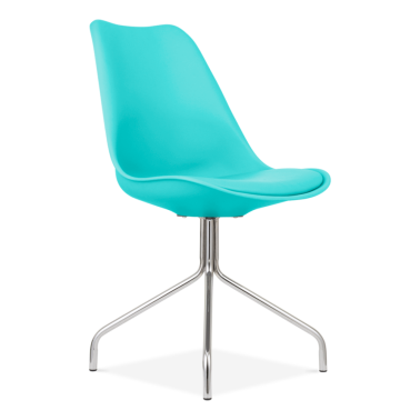 Turquoise Dining Chairs With Metal Cross Legs