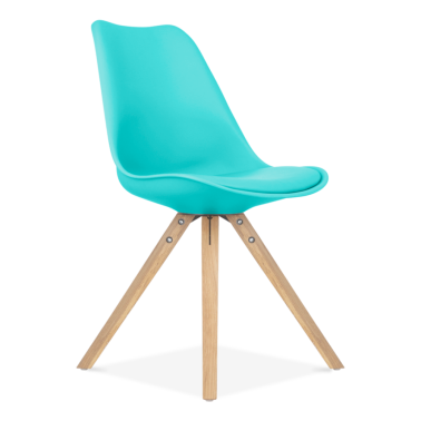 Turquoise Dining Chair with Pyramid Style Solid Oak Wood Legs
