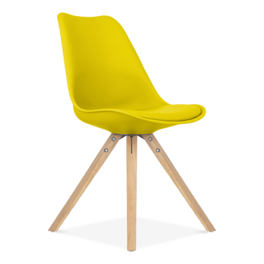 Yellow Dining Chair with Pyramid Style Solid Oak Wood Legs