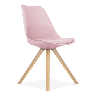 Pastel Pink Dining Chair with Pyramid Style Solid Oak Wood Legs