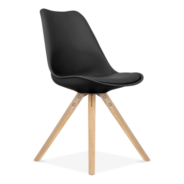 Black Dining Chairs with Pyramid Solid Oak Wood Legs
