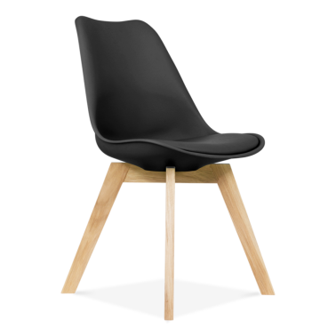 Black Dining Chairs With Solid Oak Crossed Wood Leg Base