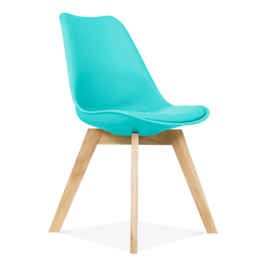 Turquoise Dining Chairs With Solid Oak Crossed Wood Leg Base