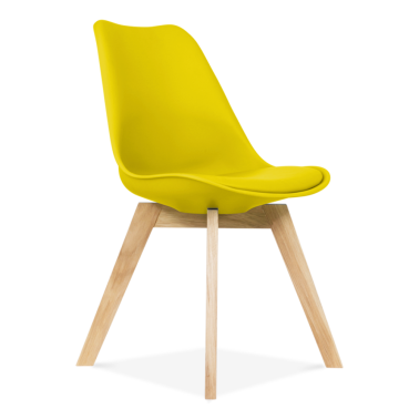 Yellow Dining Chairs With Solid Oak Crossed Wood Leg Base