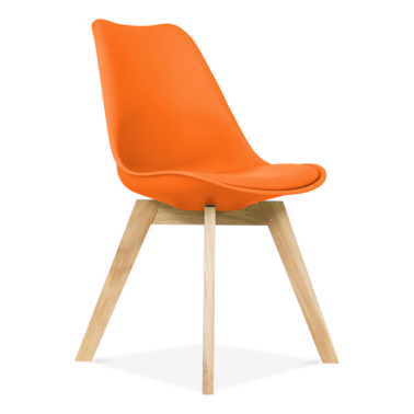 Orange Dining Chairs With Solid Oak Crossed Wood Leg Base