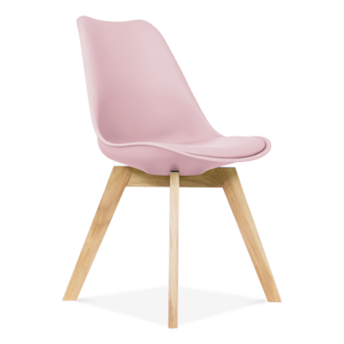 Pastel Pink Dining Chairs With Solid Oak Crossed Wood Leg Base