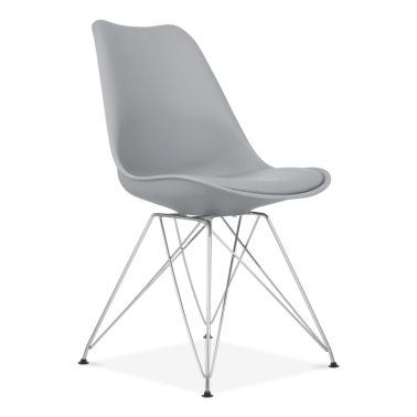 Dining Chair with Eiffel Metal Legs - Cool Grey