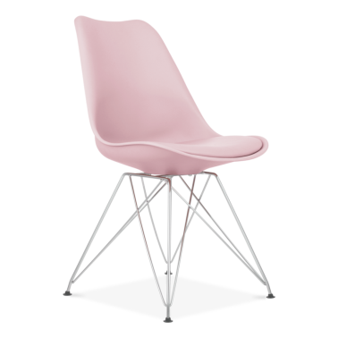 Pastel Pink Dining Chair with Eiffel Metal Legs