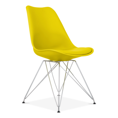 Yellow Dining Chair with Eiffel Metal Legs