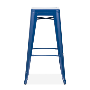 Tolix Style Metal Bar Stool - Dark Blue 75cm