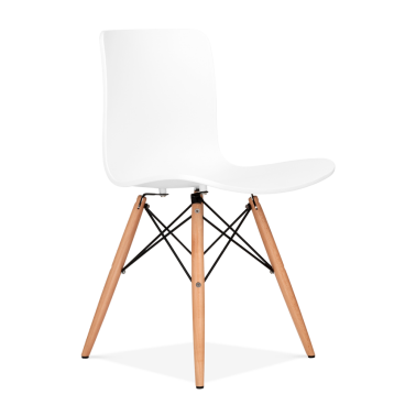 Berlin Dining Chair With Eiffel Wood Legs - White
