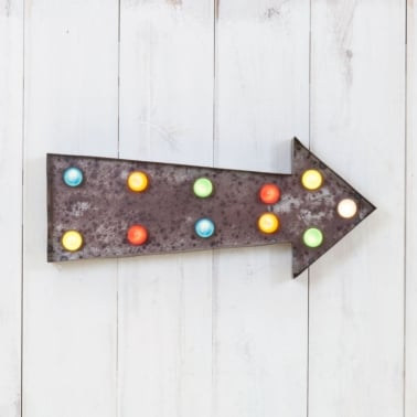 Metal L.E.D. Circus Light - Arrow Rustic with Coloured Lights