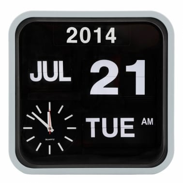 Retro Square Calender Flip Clock - Light Grey
