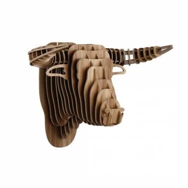 Wood Safari Trophy Animal Head - Bull