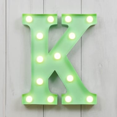 "Metal 11"" Mini L.E.D. Letter Lights K - Choice of Colour"