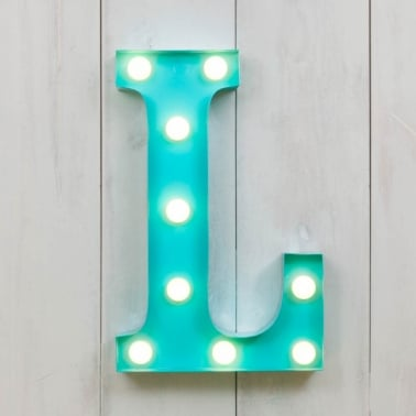 "Metal 11"" Mini L.E.D. Letter Lights L - Choice of Colour"