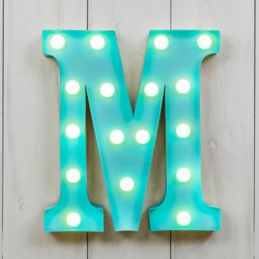 "Metal 11"" Mini L.E.D. Letter Lights M - Choice of Colour"
