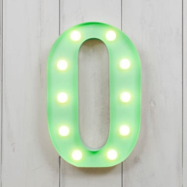 "Metal 11"" Mini L.E.D. Letter Lights O - Choice of Colour"