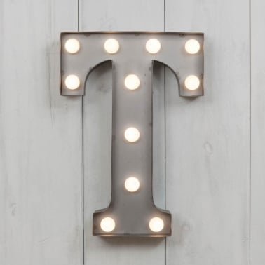 "Metal 11"" Mini L.E.D. Letter Lights T - Choice of Colour"