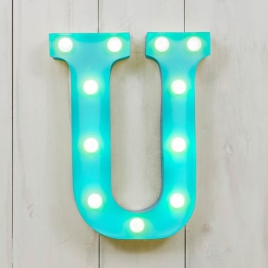 "Metal 11"" Mini L.E.D. Letter Lights U - Choice of Colour"