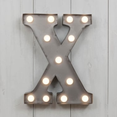 "Metal 11"" Mini L.E.D. Letter Lights X - Choice of Colour"