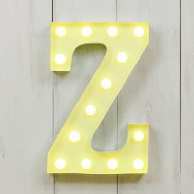"Metal 11"" Mini L.E.D. Letter Lights Z - Choice of Colour"